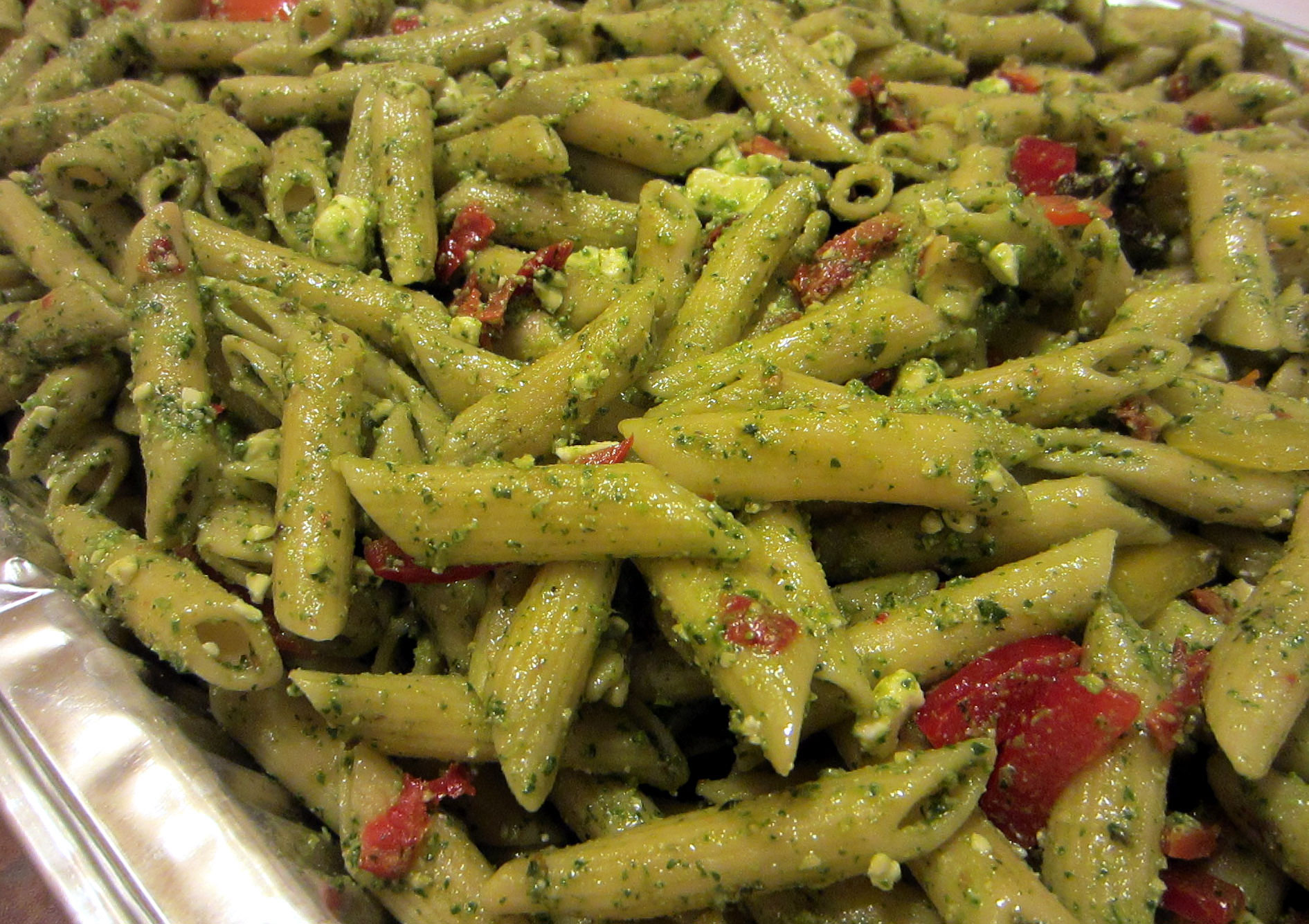 pesto pasta penne pasta tossed with fresh basil pesto sundried